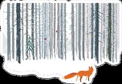 Fox in Winter Forest Landscape Sticker