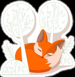 Fox Kit Sleeping in the Trees Sticker