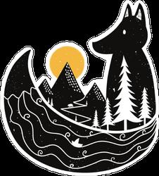 Fox Overlooking Mountain and Ocean Sticker