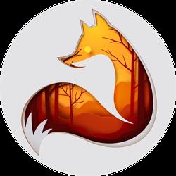 Fox Paper Art Autumn Forest Sticker