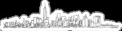 Free Hand Sketch Of New York City Skyline Scribble Sticker