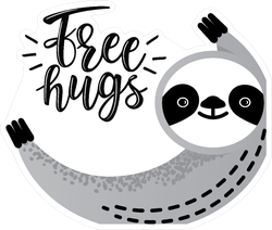Free Hugs Sloth Sticker