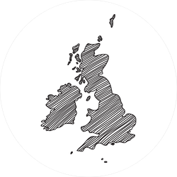 Freehand Sketch Of Great Britain Map Sticker
