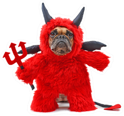 French Bulldog Dog With Red Devil Halloween Costume Sticker