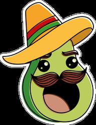 Fresh Avocado With Sombrero Sticker