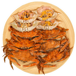 Fresh Steamed Crab On A Plate With Seafood Sauce Sticker