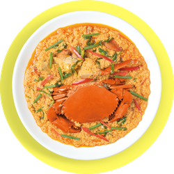 Fried Crabs With Curry Powder On Yellow Background Sticker