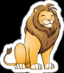Friendly Grinning Cartoon Lion Sticker