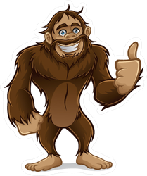 Friendly Sasquatch Giving Thumbs-up Sticker
