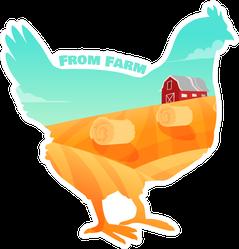 From Farm Illustration In Chicken Sticker
