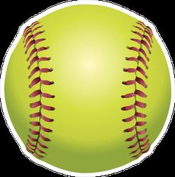Front Facing Yellow Softball Sticker