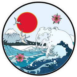 Fuji Mountain Seascape Sticker