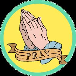 Full Color Of Praying Hands Art Sticker