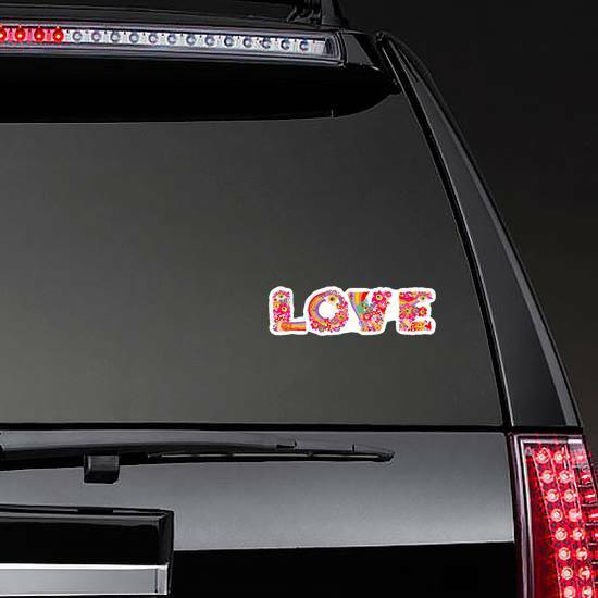 Psychedelic Hippie Love Lettering Sticker on a Rear Car Window example