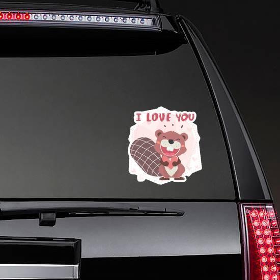 Cute Happy Brown Autumn Beaver I Love You Sticker