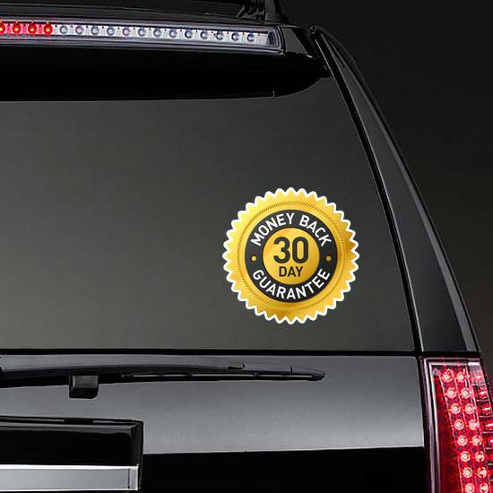 30 Day Money Back Guarantee Badge Sticker on a Rear Car Window example