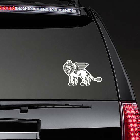 Winged Lion Sticker on a Rear Car Window example