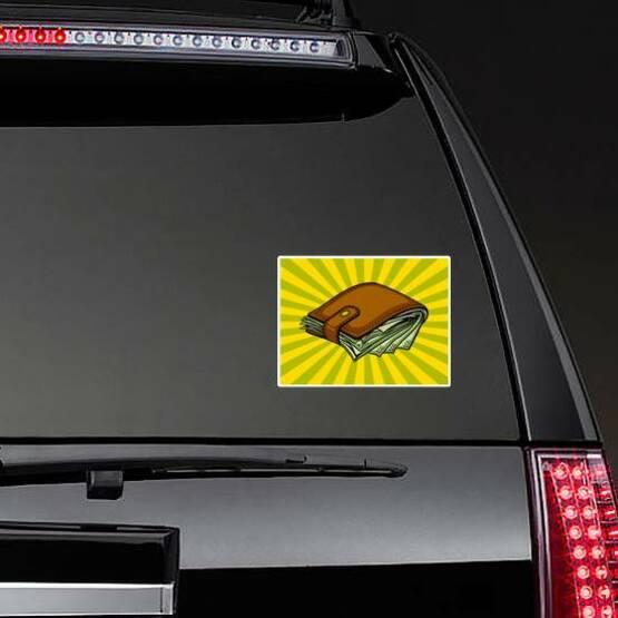 Wallet of Cash Pop Art Style Sticker on a Rear Car Window example