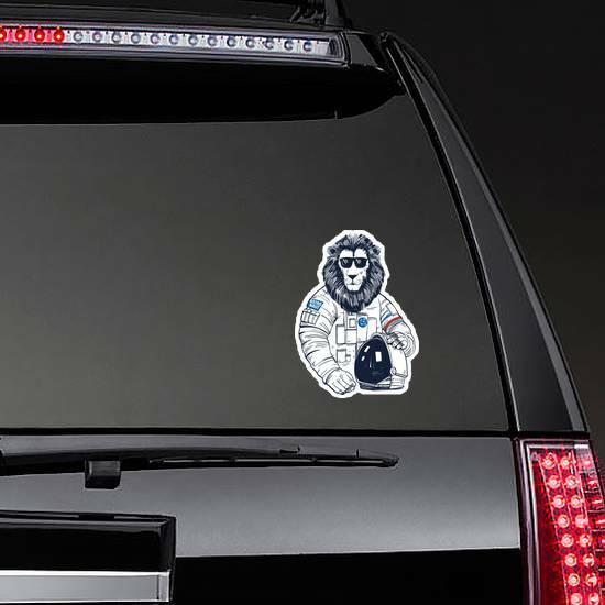 Lion Astronaut on a Rear Car Window example