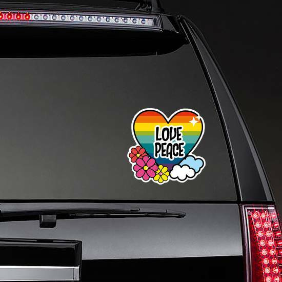 Nice Hippie Heart With Flowers And Cloud Sticker on a Rear Car Window example