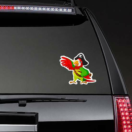 Pirate Parrot Sticker on a Rear Car Window example