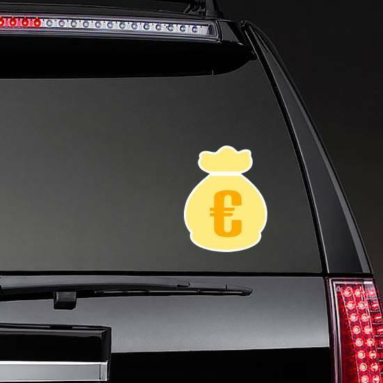 Euro Money Bag Symbol Sticker on a Rear Car Window example
