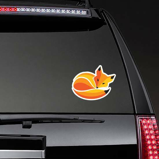 Fox Curled Up In A Ball Sleeping Sticker on a Rear Car Window example