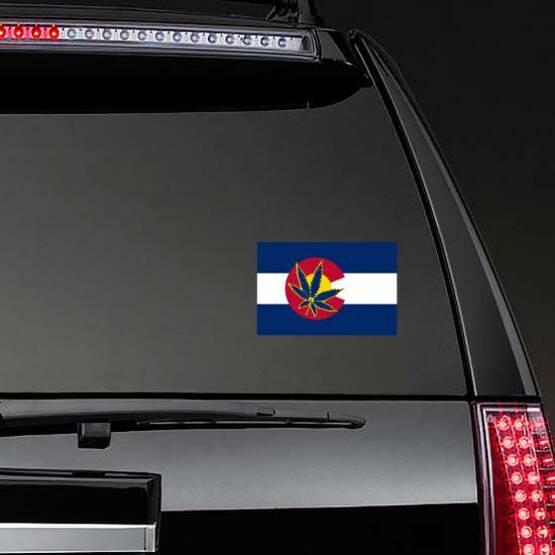 State Flag Of Colorado With Marijuana Leaf Sticker on a Rear Car Window example