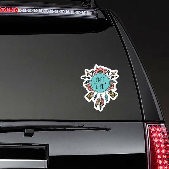 Boho And Hippie Style Free Life Sticker on a Rear Car Window example