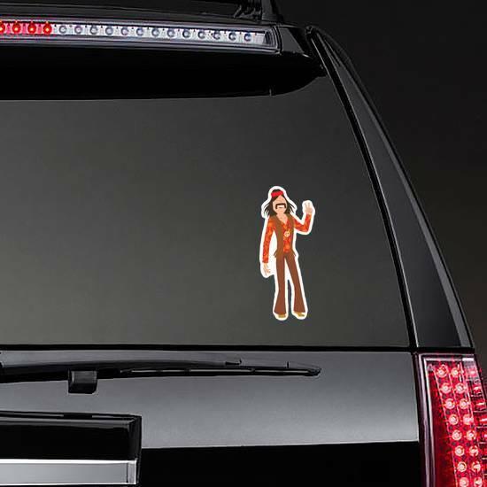 Well Dressed Hippie Man Sticker on a Rear Car Window example
