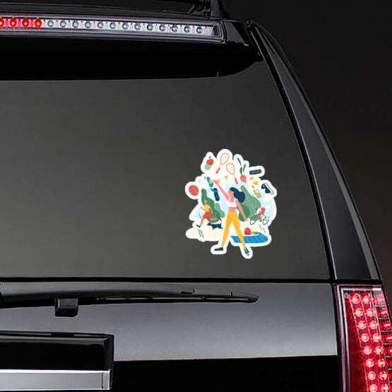 Exercise Illustration Sticker on a Rear Car Window example