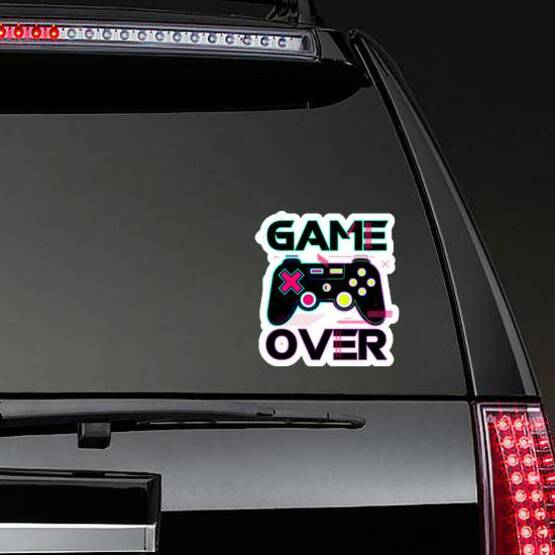Game Over Joypad Console Controller Sticker on a Rear Car Window example