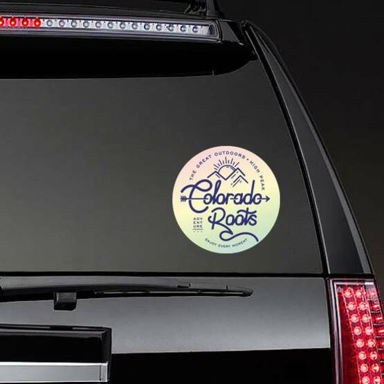 Colorado Roots The Great Outdoors Rainbow Sticker on a Rear Car Window example