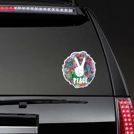 Hippie Ornamental Peace Sticker on a Rear Car Window example