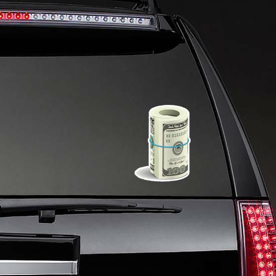 Roll of 100 Dollar Bills Sticker on a Rear Car Window example