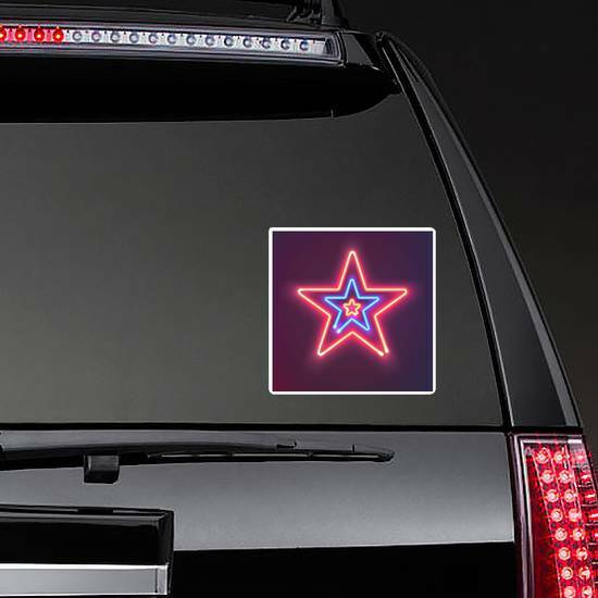 Three Shining Neon Stars Sticker on a Rear Car Window example