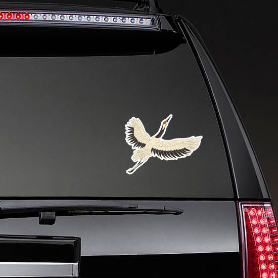 Japanese Crane Bird Isolated On A White Sticker example