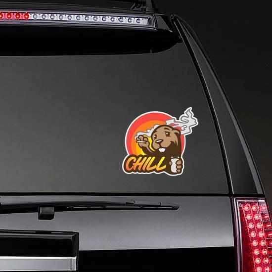 Cartoon beaver Chill Sticker