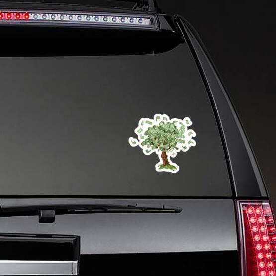Growing Money Tree Sticker on a Rear Car Window example
