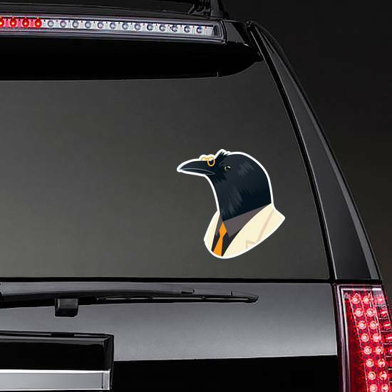 People Art Animal, Crow With Glasses Dressed In Suit Sticker example