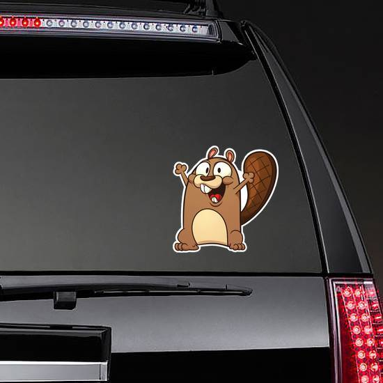 Cute Cartoon Beaver With Hands Raised Sticker