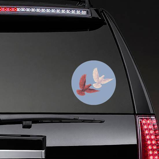 Two Doves Flying In The Sky Sticker example