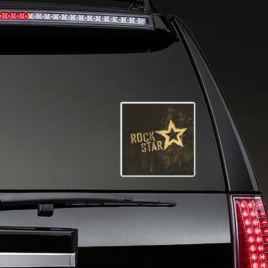 Rock Star Grunge Sticker on a Rear Car Window example