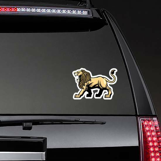Angry Roaring Lion Mascot Sticker on a Rear Car Window example