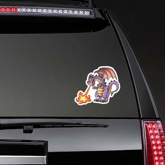 Fire Breathing Purple Dragon Sticker on a Rear Car Window example