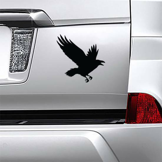 The Black Silhouette Of A Crow Flying Rook Sticker example