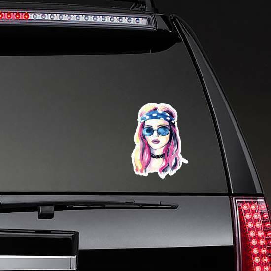 Watercolor Hippie Girl Sticker on a Rear Car Window example