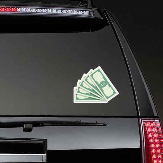 Fan Of Banknotes Sticker on a Rear Car Window example