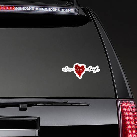 "Hand-drawn Painted Red Heart ""live, Love, Laugh"" Sticker"