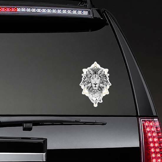 Aztec Style Lion Sticker on a Rear Car Window example